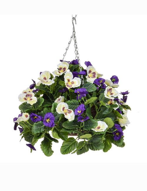 Hanging Basket Purple White