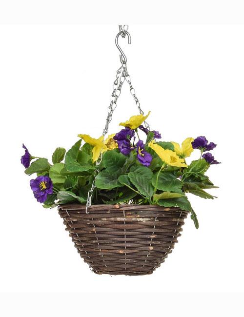 Hanging Basket Purple Yellow